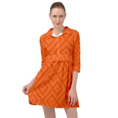 Orange Maze Mini Skater Shirt Dress