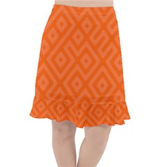 Orange Maze Fishtail Chiffon Skirt