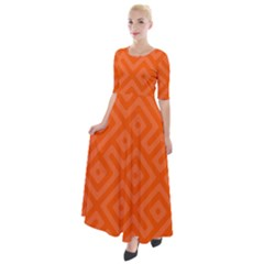 Orange Maze Half Sleeves Maxi Dress by retrotoomoderndesigns