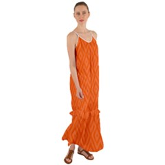 Orange Maze Cami Maxi Ruffle Chiffon Dress