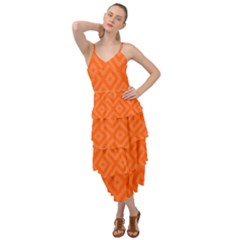 Orange Maze Layered Bottom Dress