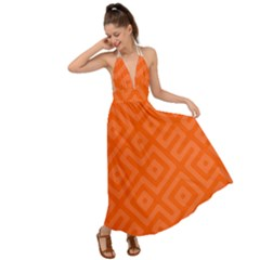 Orange Maze Backless Maxi Beach Dress