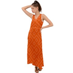 Orange Maze V-Neck Chiffon Maxi Dress