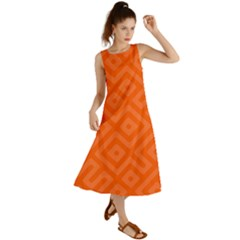 Orange Maze Summer Maxi Dress by retrotoomoderndesigns