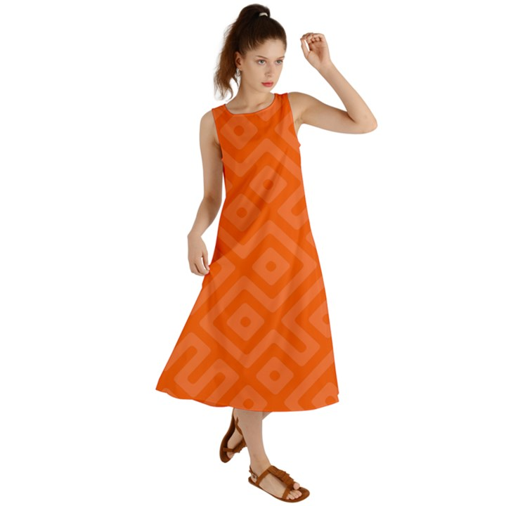 Orange Maze Summer Maxi Dress