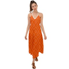Orange Maze Halter Tie Back Dress  by retrotoomoderndesigns