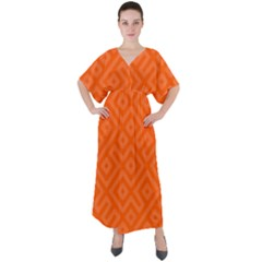 Orange Maze V-Neck Boho Style Maxi Dress