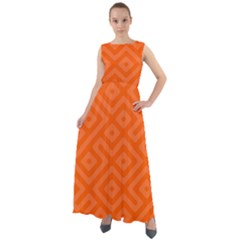 Orange Maze Chiffon Mesh Boho Maxi Dress