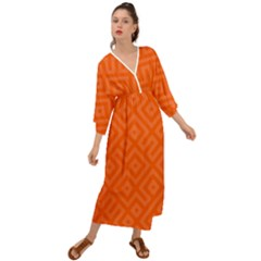 Orange Maze Grecian Style  Maxi Dress