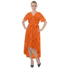 Orange Maze Front Wrap High Low Dress by retrotoomoderndesigns