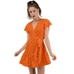 Orange Maze Flutter Sleeve Wrap Dress