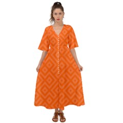 Orange Maze Kimono Sleeve Boho Dress