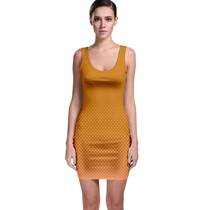 Orange Dotted Grid Bodycon Dress