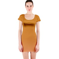 Orange Dotted Grid Short Sleeve Bodycon Dress