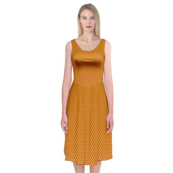 Orange Dotted Grid Midi Sleeveless Dress