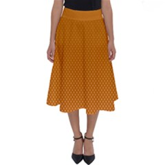 Orange Dotted Grid Perfect Length Midi Skirt by retrotoomoderndesigns