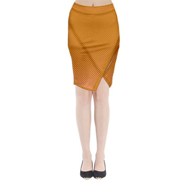 Orange Dotted Grid Midi Wrap Pencil Skirt