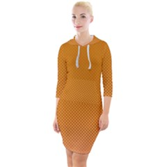 Orange Dotted Grid Quarter Sleeve Hood Bodycon Dress