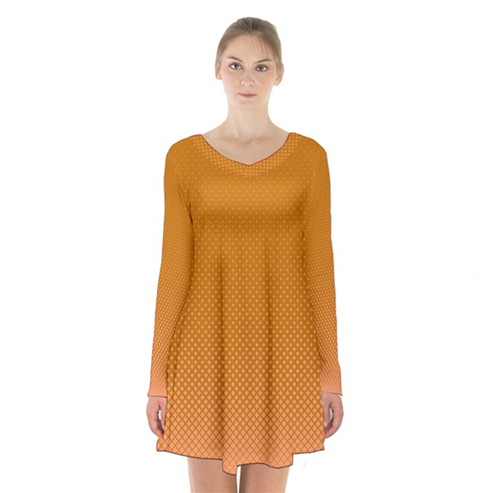 Orange Dotted Grid Long Sleeve Velvet V-neck Dress