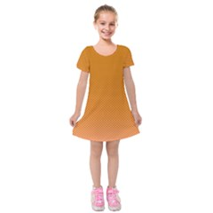 Orange Dotted Grid Kids  Short Sleeve Velvet Dress by retrotoomoderndesigns