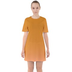 Orange Dotted Grid Sixties Short Sleeve Mini Dress by retrotoomoderndesigns