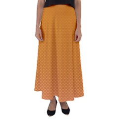 Orange Dotted Grid Flared Maxi Skirt