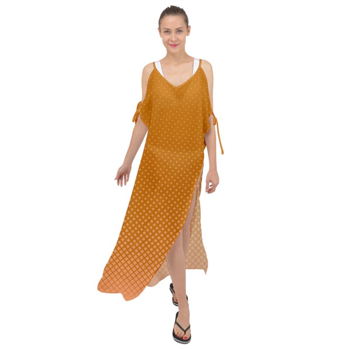 Orange Dotted Grid Maxi Chiffon Cover Up Dress