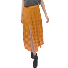 Orange Dotted Grid Velour Split Maxi Skirt by retrotoomoderndesigns