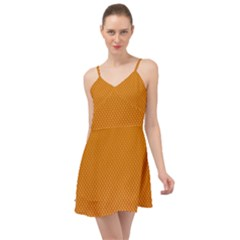 Orange Dotted Grid Summer Time Chiffon Dress
