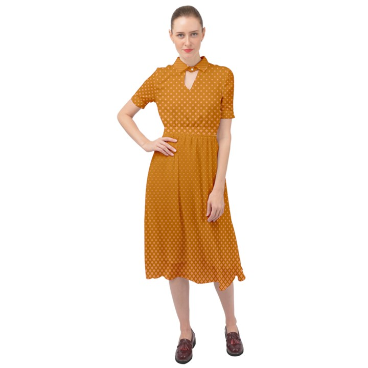 Orange Dotted Grid Keyhole Neckline Chiffon Dress