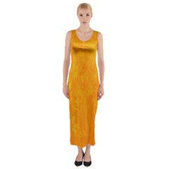 Sunshine Orange Fitted Maxi Dress by retrotoomoderndesigns
