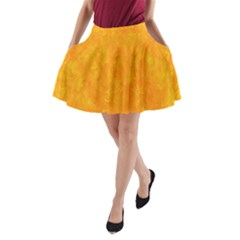 Sunshine Orange A-line Pocket Skirt by retrotoomoderndesigns