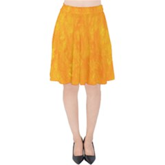 Sunshine Orange Velvet High Waist Skirt