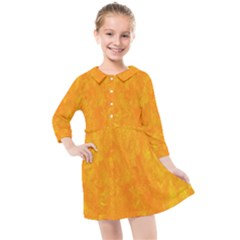 Sunshine Orange Kids  Quarter Sleeve Shirt Dress