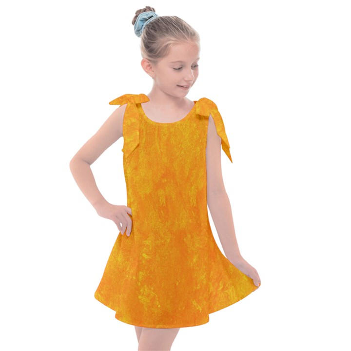 Sunshine Orange Kids  Tie Up Tunic Dress