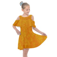 Sunshine Orange Kids  Shoulder Cutout Chiffon Dress