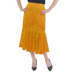 Sunshine Orange Midi Mermaid Skirt