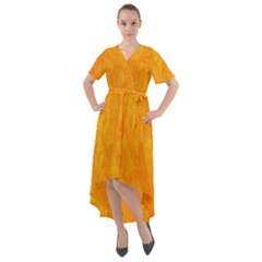 Sunshine Orange Front Wrap High Low Dress by retrotoomoderndesigns