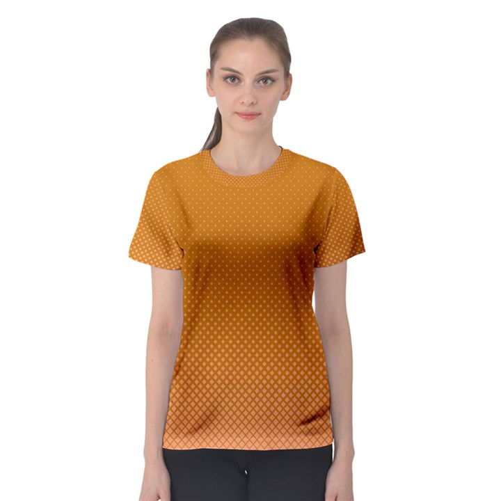 Orange Dotted Grid Women s Sport Mesh Tee
