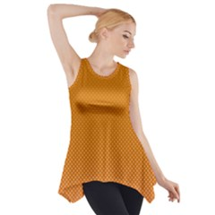 Orange Dotted Grid Side Drop Tank Tunic