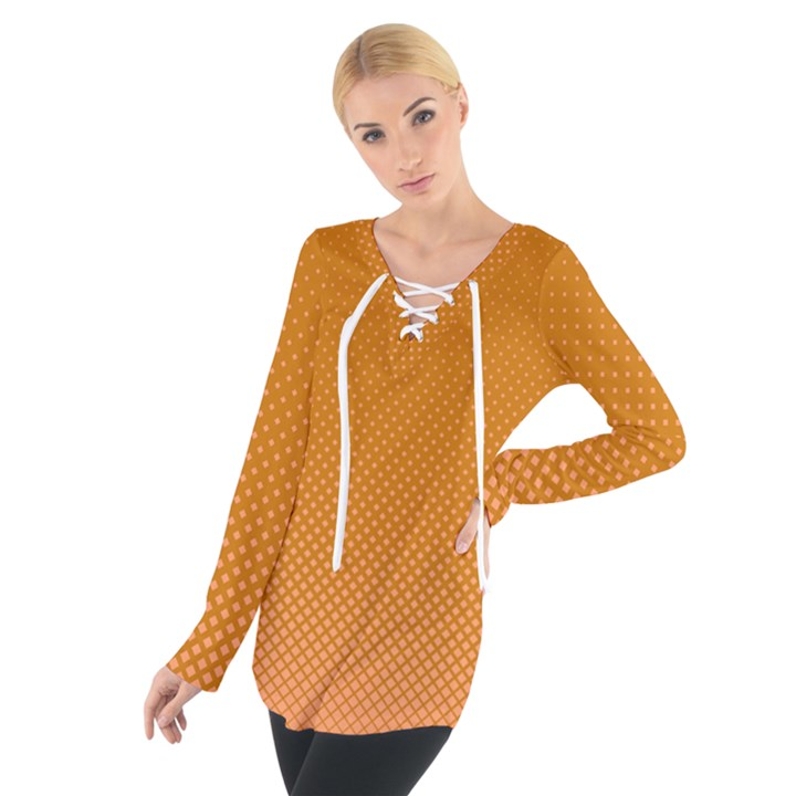 Orange Dotted Grid Tie Up Tee