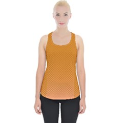 Orange Dotted Grid Piece Up Tank Top