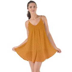 Orange Dotted Grid Love The Sun Cover Up