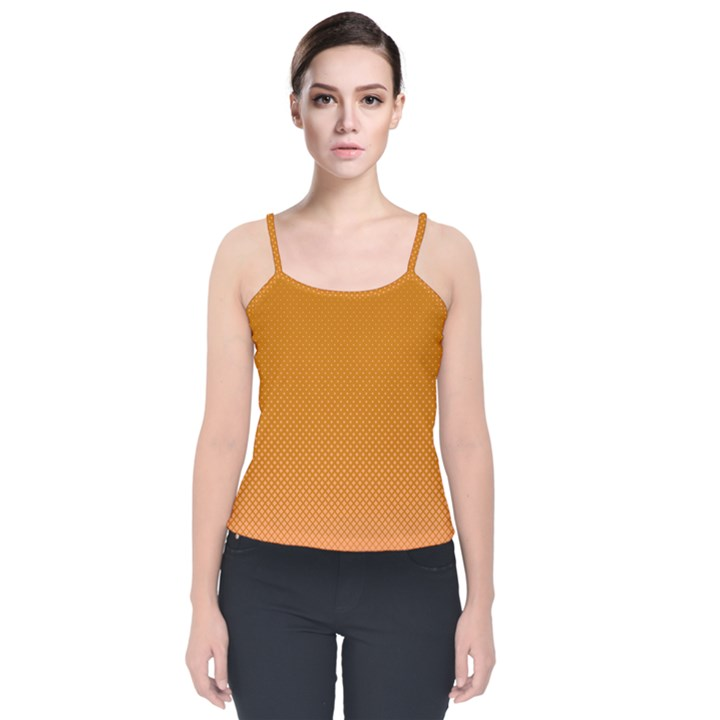 Orange Dotted Grid Velvet Spaghetti Strap Top