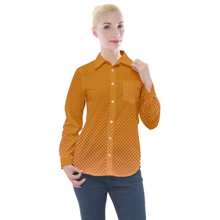 Orange Dotted Grid Women s Long Sleeve Pocket Shirt