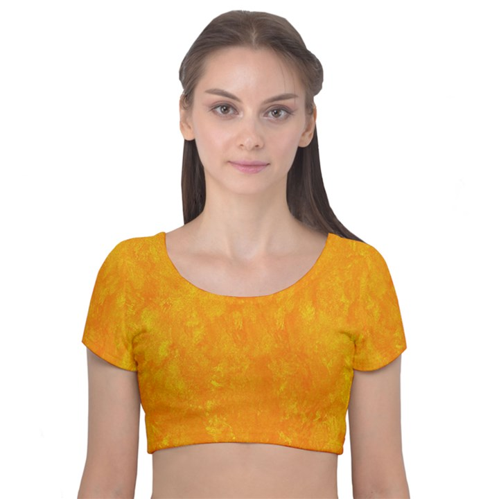 Sunshine Orange Velvet Short Sleeve Crop Top