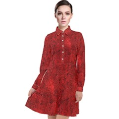Bright Red Dream Long Sleeve Chiffon Shirt Dress by retrotoomoderndesigns