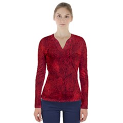 Bright Red Dream V-neck Long Sleeve Top by retrotoomoderndesigns