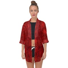 Bright Red Dream Open Front Chiffon Kimono by retrotoomoderndesigns