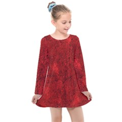 Bright Red Dream Kids  Long Sleeve Dress by retrotoomoderndesigns